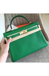Hermes Bamboo Clemence Kelly Retourne 32cm Handmade Bag Replica HJ00272