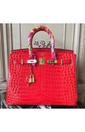 Hermes Birkin 30cm 35cm Bag In Cherry Crocodile Leather HJ00269