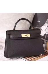 Hermes Black Epsom Kelly Mini II 20cm Handmade Bag Replica HJ00374