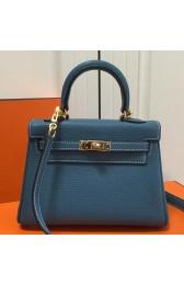 Hermes Blue Jean Clemence Kelly 20cm GHW Bag HJ01225