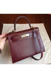 Hermes Bordeaux Box Kelly Retourne 28cm Handmade Bag HJ00427
