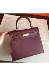 Hermes Bordeaux Epsom Kelly 25cm Sellier Handmade Bag Replica HJ01018