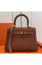 Hermes Brown Clemence Kelly 20cm GHW Bag Replica HJ00813