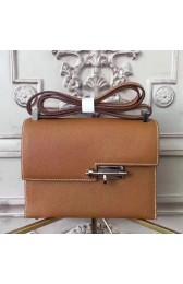 Hermes Brown Epsom Verrou Shoulder Handmade Bag Replica HJ00517