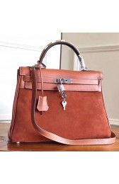 Hermes Brown Suede Kelly 32cm Bag With Zigzag Handle Replica HJ00290