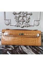 Hermes Camarel Crocodile Kelly Cut Clutch Bag Replica HJ01183