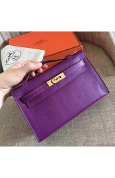 Hermes Cyclamen Swift Kelly Pochette Handmade Bag HJ01109