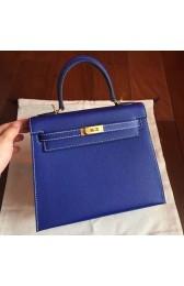 Hermes Electric Blue Epsom Kelly 25cm Sellier Handmade Bag HJ00857