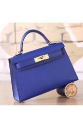 Hermes Electric Blue Epsom Kelly Mini II 20cm Handmade Bag HJ00865