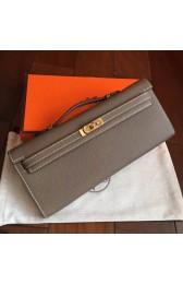 Hermes Etoupe Epsom Kelly Cut Clutch Handmade Bag HJ01056