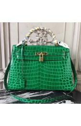 Hermes Kelly 32cm Bag In Bamboo Crocodile Leather HJ01234