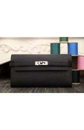 Hermes Kelly Longue Wallet In Black Clemence Leather Replica HJ00249