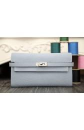 Hermes Kelly Longue Wallet In Blue Lin Clemence Leather HJ00300