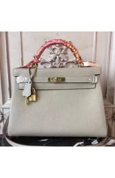 Hermes Light Grey Clemence Kelly 28cm Bag HJ01274