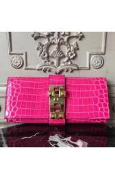 Hermes Medor Clutch Bag In Rose Red Crocodile Leather Replica HJ00617