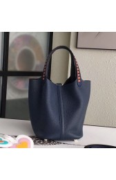 Hermes Navy Blue Picotin Lock 18cm Bag With Braided Handles HJ01201