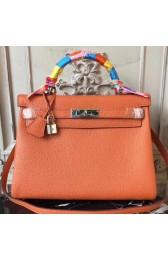 Hermes Orange Clemence Kelly 28cm Bag Replica HJ01221