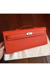 Hermes Orange Epsom Kelly Cut Clutch Handmade Bag HJ00200