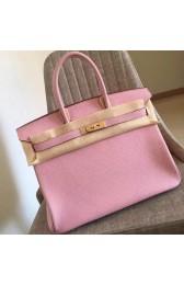 Hermes Pink Clemence Birkin 35cm Handmade Bag HJ00786