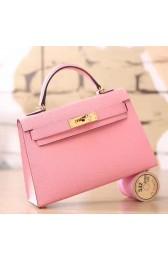 Hermes Pink Epsom Kelly Mini II 20cm Handmade Bag HJ00758