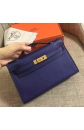 Hermes Sapphire Epsom Kelly Pochette Handmade Bag Replica HJ01359