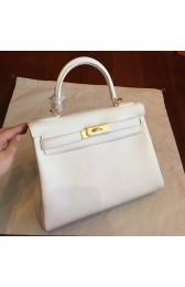 Hermes White Clemence Kelly Retourne 28cm Handmade Bag HJ01094