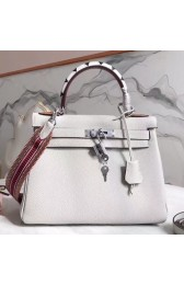 Hermes White Kelly 28cm Bag With Zigzag Handle HJ00864