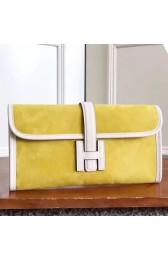 Hermes Yellow Suede Jige Elan 29 Clutch Bag HJ00897