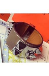 High End Hermes Etoupe Epsom Collier De Chien Bracelet Size S HJ00854