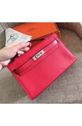 High End Replica Hermes Red Swift Kelly Pochette Handmade Bag HJ01163