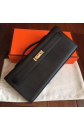 High Imitation Designer Replica Hermes Black Swift Kelly Cut Clutch Handmade Bag HJ00321
