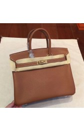 High Quality Imitation Hermes Brown Clemence Birkin 25cm Handmade Bag HJ00305