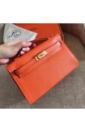 High Quality Imitation Hermes Orange Epsom Kelly Pochette Handmade Bag HJ01039