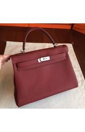 High Quality Replica Hermes Bordeaux Clemence Kelly Retourne 32cm Handmade Bag HJ00872