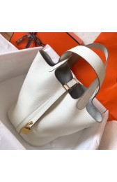 High Quality Replica Hermes White Picotin Lock MM 22cm Handmade Bag HJ00497