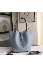 Hot Hermes Blue Lin Picotin Lock 22cm Braided Handles Bag Replica HJ00984