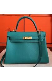 Imitation AAA Hermes Blue Paon Clemence Kelly Retourne 32cm Handmade Bag HJ00704