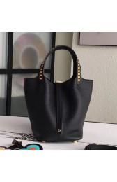 Imitation AAA Knockoff Hermes Black Picotin Lock 18cm Bag With Braided Handles HJ00643