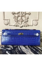 Imitation Hermes Blue Electric Crocodile Kelly Cut Clutch Bag HJ00768