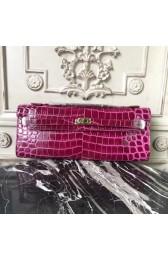 Imitation Hermes Fuchsia Crocodile Kelly Cut Clutch Bag HJ00730