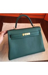 Imitation Hermes Malachite Clemence Kelly Retourne 32cm Handmade Bag HJ00120