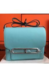 Imitation Hermes Mini Sac Roulis Bag In Blue Atoll Swift Leather Replica HJ01048