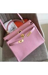 Imitation Hermes Pink Clemence Kelly Retourne 32cm Handmade Bag HJ00554