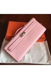 Imitation Hermes Rose Dragee Swift Kelly Cut Clutch Handmade Bag HJ01281