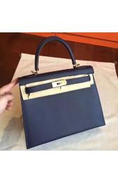 Imitation Hermes Sapphire Epsom Kelly Sellier 28cm Handmade Bag HJ00036