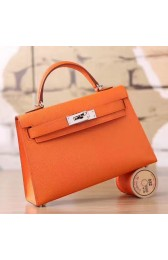 Imitation Replica High Quality Hermes Orange Epsom Kelly Mini II 20cm Handmade Bag HJ00801