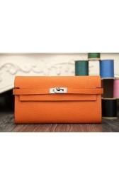 Imitation Top Designer Hermes Kelly Longue Wallet In Orange Clemence Leather HJ01072
