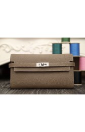 Imitation Top Hermes Kelly Longue Wallet In Etoupe Clemence Leather HJ00028