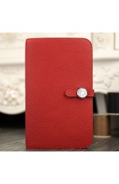 Knockoff 1:1 Hermes Dogon Combine Wallet In Red Leather HJ00580