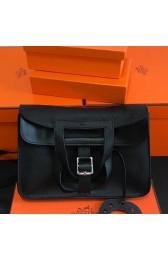 Knockoff Designer Hermes Halzan Bag In Black Clemence Leather HJ00188